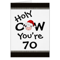 Funny Holy Cow You're 70 Christmas Birthday Card