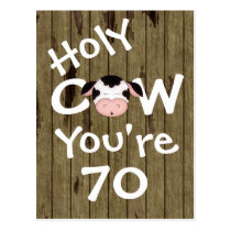 Funny Holy Cow You're 70 Humorous Birthday Postcard