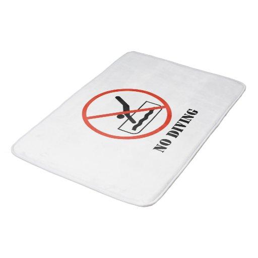 Funny Home Decor White NO DIVING Bathroom Mat