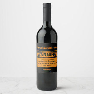 Funny Homemade Wine Warning Label