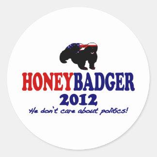 Funny Honey Badger for President 2012 Classic Round Sticker