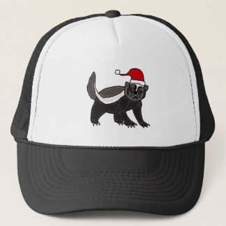 Funny Honey Badger in Santa Hat
