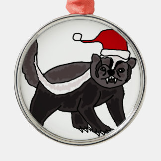 Funny Honey Badger in Santa Hat Metal Ornament