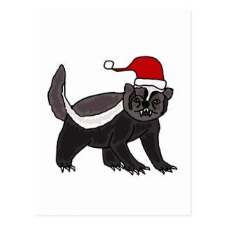 Funny Honey Badger in Santa Hat Postcard