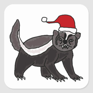 Funny Honey Badger in Santa Hat Square Sticker