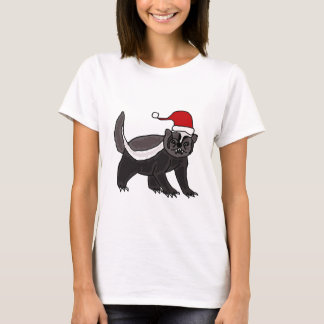 Funny Honey Badger in Santa Hat T-Shirt