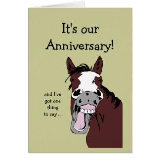 Funny Horse Anniversary Cartoon Spouse or Partner Greeting Card