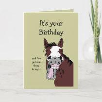 Funny Horse Birthday Cartoon Romantic Silly Card