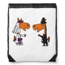 Funny Horse Bride and Groom Wedding Art Drawstring Backpack