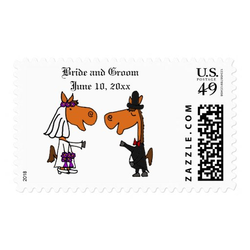 Funny Horse Bride and Groom Wedding Art Postage Stamps