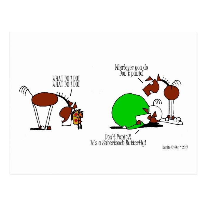 Funny Horse & Butterfly Cartoon Postcard