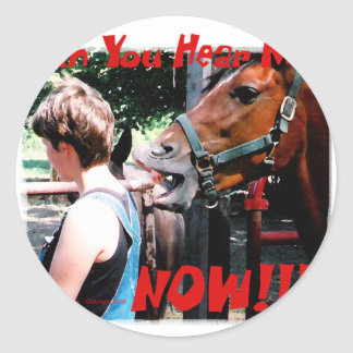 Funny Horse: Can You hear me now? Classic Round Sticker