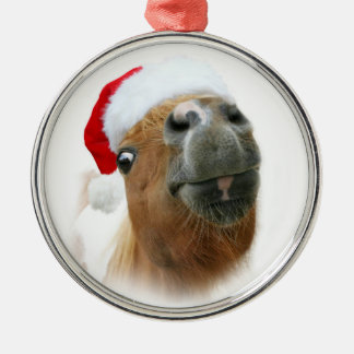 Funny horse Christmas Metal Ornament