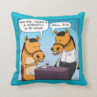 Funny Horse Complains About Horsefly in Soup Throw Pillow