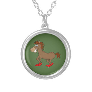 Funny horse design matching jewelry set round pendant necklace