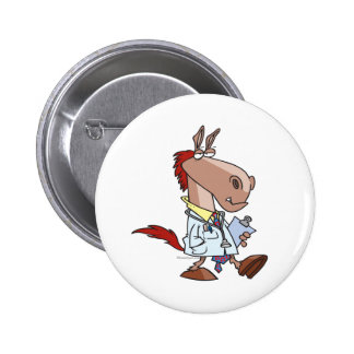 funny horse doc doctor cartoon 2 inch round button