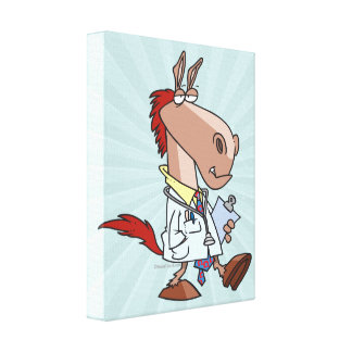 funny horse doc doctor cartoon stretched canvas print