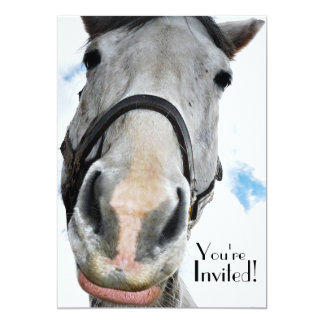 Funny Horse Face for Party or  Equestrian Event Personalized Announcements