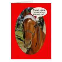 Funny horse in a Santa Hat Christmas Greeting Card