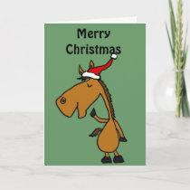 Funny Horse in Santa Hat Christmas Art Holiday Card