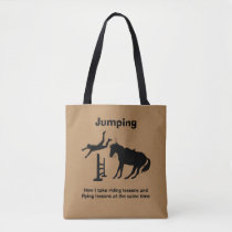 Funny Horse Jumping Flying Falling Humor Tote Bag