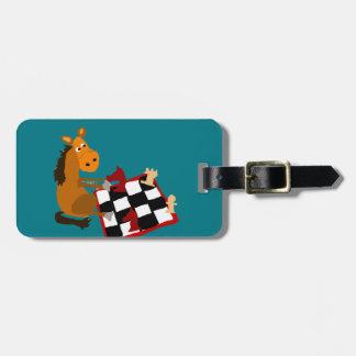 Funny Horse Playing Chess Art Original Bag Tag