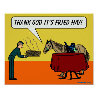 """Funny Horse Poster: """"Thank God It's Fried Hay"""" Poster"""
