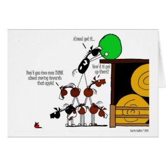 Funny Horse Pyramid Cartoon Greeting Card