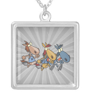 funny horse racing cartoon square pendant necklace