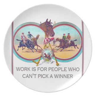 Funny Horse Racing – Work For People Who Can't Win Party Plates