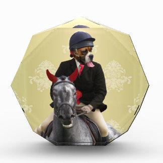 Funny horse rider character acrylic award