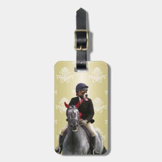 Funny horse rider character bag tag