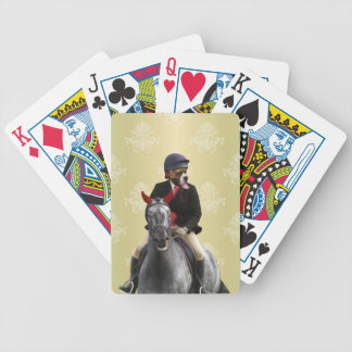 Funny horse rider character bicycle playing cards