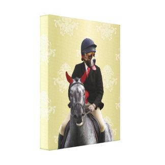 Funny horse rider character gallery wrap canvas