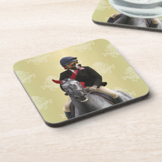 Funny horse rider character drink coaster