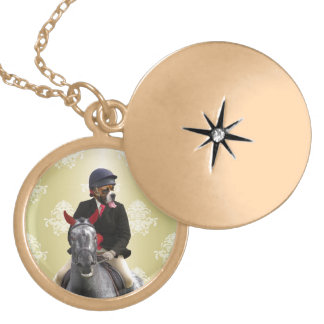 Funny horse rider character gold plated necklace