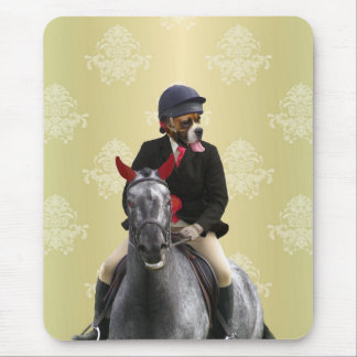 Funny horse rider character mouse pad