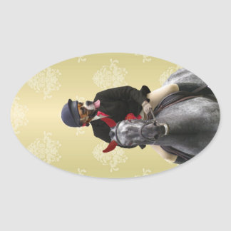 Funny horse rider character oval sticker