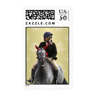 Funny horse rider character postage