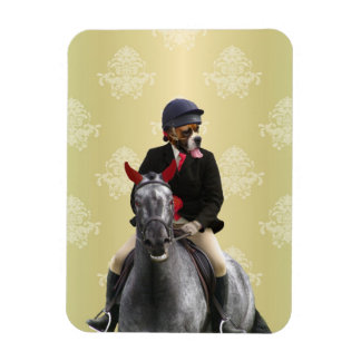 Funny horse rider character rectangular photo magnet