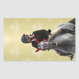 Funny horse rider character rectangular sticker