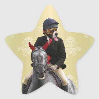Funny horse rider character star sticker