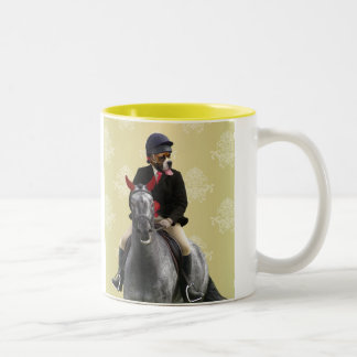 Funny horse rider character Two-Tone coffee mug