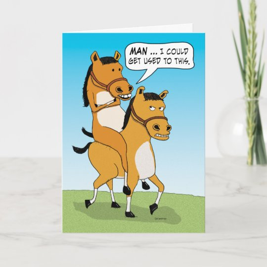 Funny Horse Riding Horse Birthday Card Zazzle Com