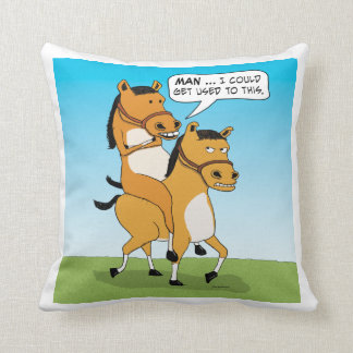 Funny Horse Riding Horse Throw Pillow