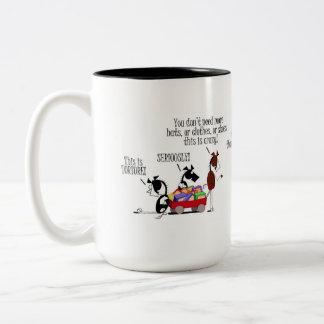 Funny Horse Shoe Shopping Cartoon Two-Tone Coffee Mug