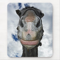 Funny Horse Smiles Mouse Pad