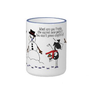 Funny Horse & Snowman Cartoon Mug