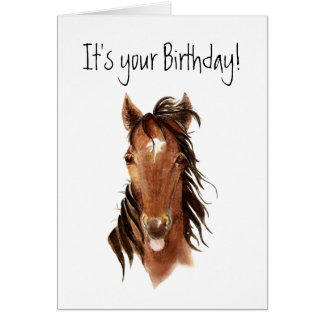 Funny Horse Sticking out Tongue, Insult Birthday Card