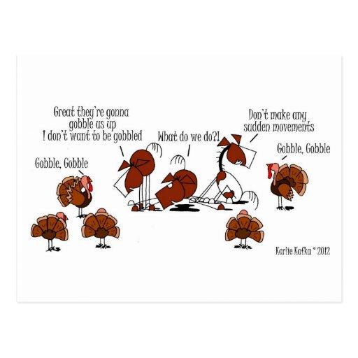Funny Horse & Turkey Thanksgiving Cartoon Postcard
